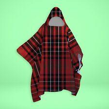 Red Tartan Print - SNUGAROO Hooded Fleece Poncho