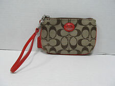 COACH  SUTTON VERMILLION CANVAS LEATHER SIGNATURE TIEBACK  WRISTLET 48370