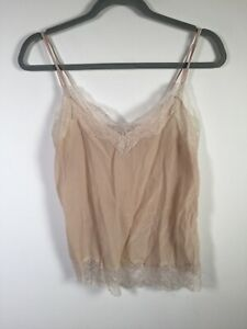 Witchery womens silk nude lace trim cami tank top singlet size 6 good condition