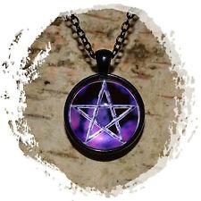 Modeschmuck Halskette Anhänger Cabochon - Pentagramm Pentakel - Lila Nebel - NEU