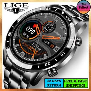 Men Luxury Smart Watch Waterproof Steel Band Heart Rate & Blood Pressure Monitor
