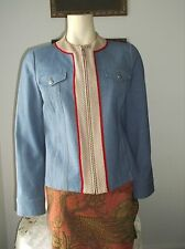 ST JOHN SPORT WOMEN'S JEAN  JACKET  WITH MULTI COLOR KNIT TRIM US SIZE SMALL