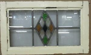 """OLD ENGLISH LEADED STAINED GLASS WINDOW Pretty Diamonds Design 21.75"""" x 13"""""""