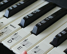 Keyboard or Piano Stickers up to 88 KEYS for the black & white keys learn faster