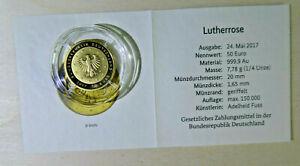 50 Euro Goldmünze Lutherrose 2017 Prägezeichen G mit Zertifikat in Original Box