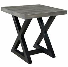 Zax, Rustic Cast Iron Base Wood Modern Accent End Table in Distressed Grey
