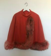 Vintage Hand Made Coral Wool Cape With Fox Fur Trim 50s 60s Good Condition