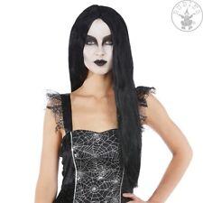 BRUJAS Peluca mujer, Vampiro Halloween Gótico, negro, Pelo Largo Plano 61cm