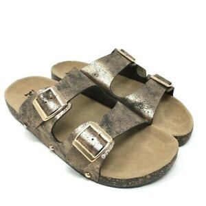 Mudd Womens Copper Double Buckle Side Flat Slide Sandal Shoes Size XL 11 NWT
