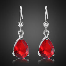 Ruby White Gold Plated Dangle Earrings Earing Xmas Lady Jewel gift Pear Cut Red