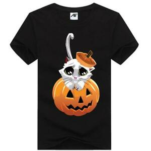 Mens Pumpkin Hat Printed T Shirt Short Sleeve Crew Neck Halloween Party Top