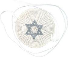 Baby Knitted Kippah with Ties & Silver Star of David - Jewish Yamaka - hat cap
