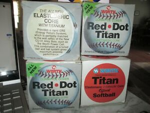 Vtg Worth Red Dot White Softball In Original Box New Never Used Lot Of 4 PX-1WS