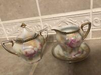 Vintage JSV Germany Porcelain Creamer, Sugar Bowl Floral with Gold & Green Trim