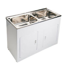 1160*500*870mm Laundry Tub Double Bowl Stainless Steel Sink White Cabinet