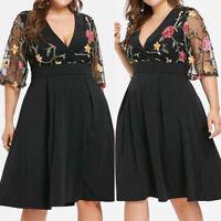 Fashion Women Fashion Floral Short Sleeve Plus Size Solid Applique V-Neck Dress