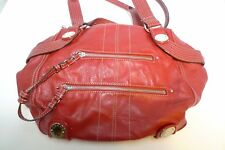 Genna De Rossi Red Faux Leather Bag Double Zipper Side Handles AS IS