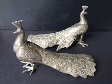 More details for pair of vintage cast metal peacock bird ornaments figurines 17 cm long rare