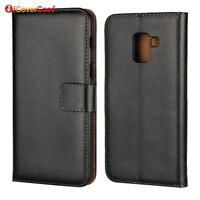 Genuine Leather Flip Wallet Case Cover For Samsung Galaxy A8 2018 SM-A530