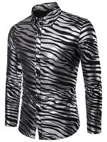 Fashion Men's Luxury Shiny Stylish Slim Fit Long Sleeve Casual Dress Shirt Tops