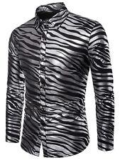 Men Shiny Zebra Print Tops Turn-Down Collar Club Button Down Long Sleeve T-Shirt