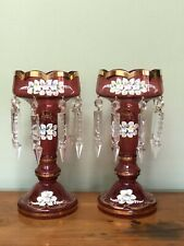 Antique Victorian Cranberry Pink Ruby Bohemia Glass Lustre Crystal Drop Vases