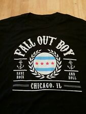 Fall Out Boy, Save Rock & Roll Manhead T-Shirt, Chicago IL, Black Size Large.