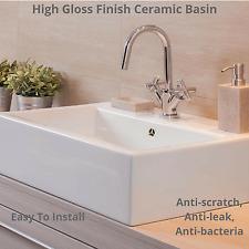 White High Gloss Ceramic Sink Bathroom Basin Laundry Kitchen Tub 415mmx 415mm