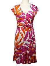 NWT TOMMY BAHAMA Raspberry Orange Ruched Sleeveless Dress Womens Small