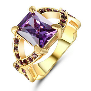 Size 6 Purple Amethyst Crystal Cross Ring 10KT yellow Gold Filled Wedding Band
