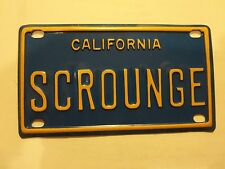 Vintage Personalized California SCROUNGE Mini Bike Vanity License Plate Sign