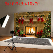 5x3ft/7x5ft/10x7ft Christmas Tree Fireplace Party Decor Photography Background