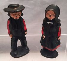 """ANTIQUE PAIR of SOLID CAST IRON 2"""" TALL AMISH MAN & WOMAN VINTAGE ESTATE OLD SET"""