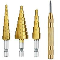 3+1 Set HSS Large Cobalt Hole Titanium Cone Step Drill T1Y5 Cutter With Bit D3I1