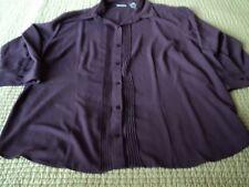 Covington Woman ~Eggplant  Button down  Size 20-22W ~ Polyester~ Long sleeves +