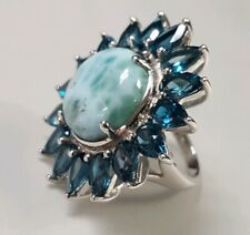 Gem Insider Bold Larimar & London Blue Topaz Flower Ring Size 8