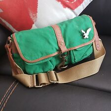 American Eagle Womens Green Canvas Handbag Bag Purse Tote FWUW