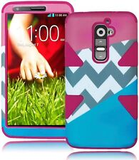 Hybrid Pink / Sky Blue Chevron Hard Case+Hot Pink Silicone for LG G2 VS980,D800