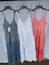 Women v neck cotton eyelet solid ombre elastic spaghetti strap dress summer US