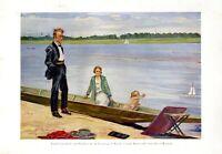 Familie am Flutkanal Leipzig XL Kunstdruck 1926 von Otto Weigel * Theißen Zeitz