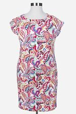TALBOTS PINK BLUE PAISLEY PRINT SHOULDER BUTTON INTERLOCK COTTON DRESS PLUS 1X
