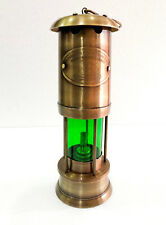 "11"" Antique Vintage Style Brass Nautical Miner Ship Lantern Oil Lamp Green Glass"
