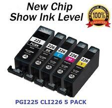 5 NEW Ink Cartridges For Canon PGI-225BK CLI-226 CMY PIXMA MG5220 MG8120B iP4820
