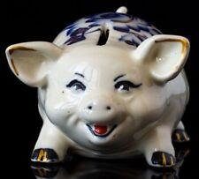 Porcelain money box. Still piggy gzhel bank