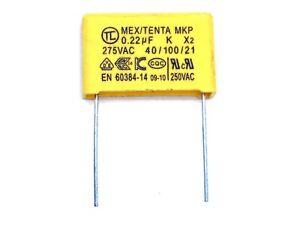 1x MEX/TENTA MKP Kondensator 220nF X2 275V~ VAC, RM21mm (0,22µF,uF,AC,250V~)X431