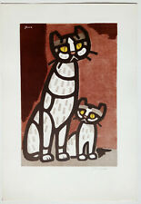 Inagaki Tomoo Chat et Chaton Japon Lithographie couleur