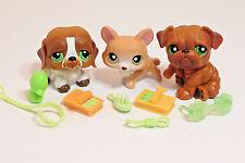 Littlest Pet Shop Lot of Brown Green Eyed Dogs Corgi #183 St Bernard #335 #180