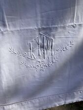 """More details for antique style french sheet with monogram ladder stitched hem 83.5""""116"""""""