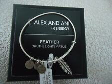 Alex and Ani Small FEATHER Russian Silver Charm Bangle New W/ Tag Card & Box