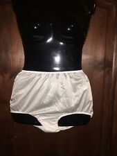 Sears white vintage look brief panty knickers silky  sissy 6 medium hips 36-38